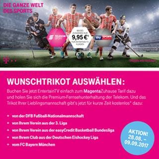 Kostenloses Original-Trikot sichern mit EntertainTV der Telekom